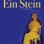 Image Description:Blue book cover with a yellow shadow of a man, seated on a chair with arms and legs crossed.
