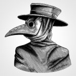 A black and white illustration of a plague doctor, with the beak mask and short hat