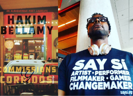 Left image: Cover for 'Commissions y Corridos', yellow and black text over photo of a shopfront window. Right image: A man in a blue shirt with white text, white headphones around his neck, and black reading glasses, standing in front of a white pylon.